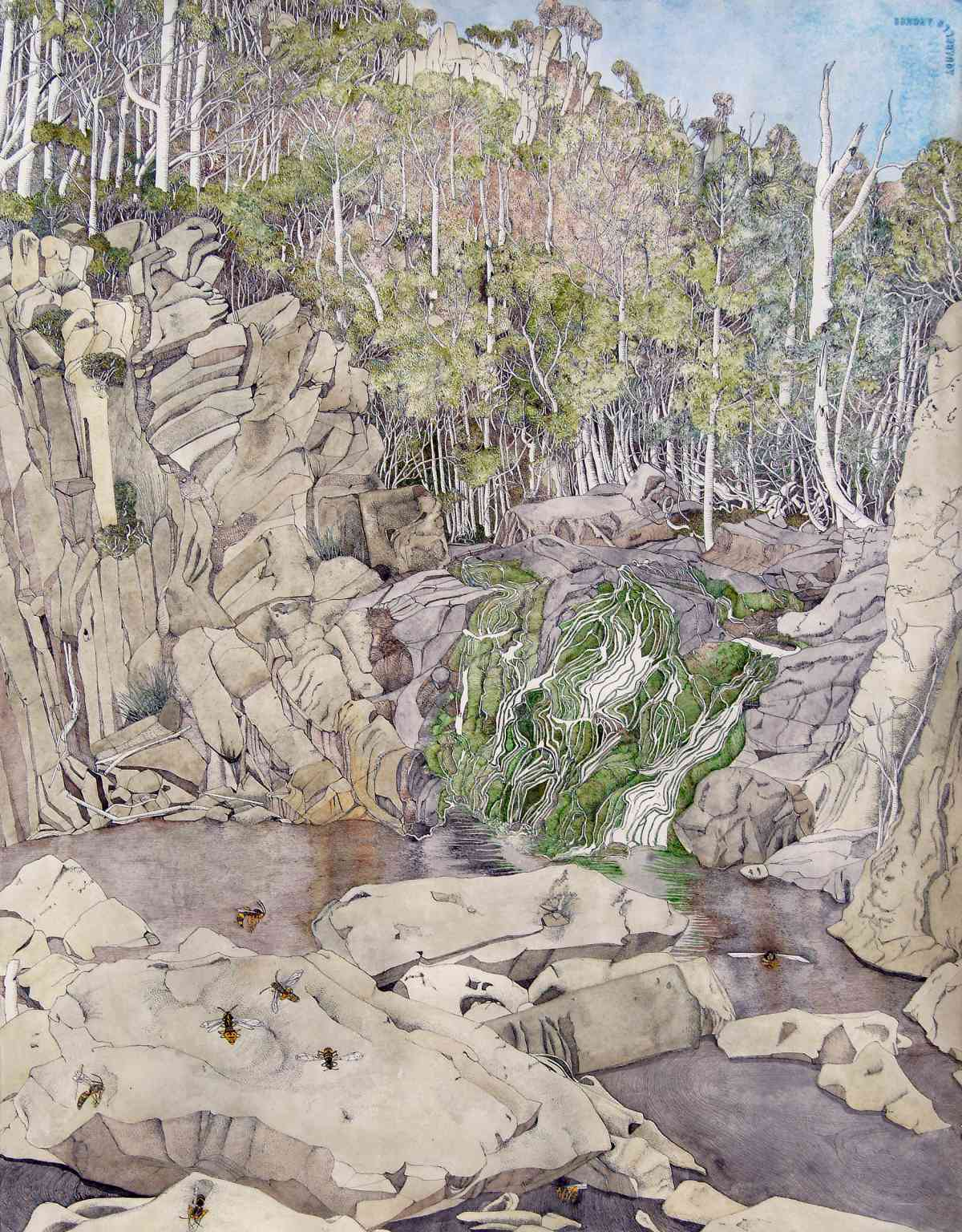 Following the Mersey 3, Tasmania 2004, Watercolour with ink, Triptych, 60 x 185cm