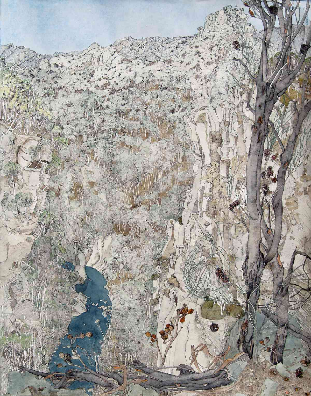 Following the Mersey, Tasmania 2004, Watercolour with ink, Triptych, 60 x 185cm