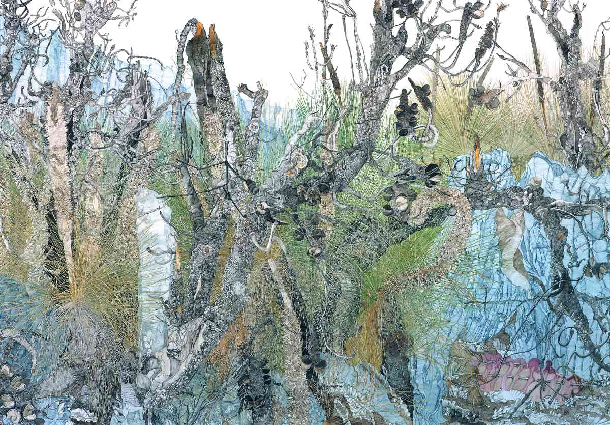 Kelp Basket on a Path to Rocky Cape, Tasmania 2011-2012 ,Watercolour, 127.x 183cm