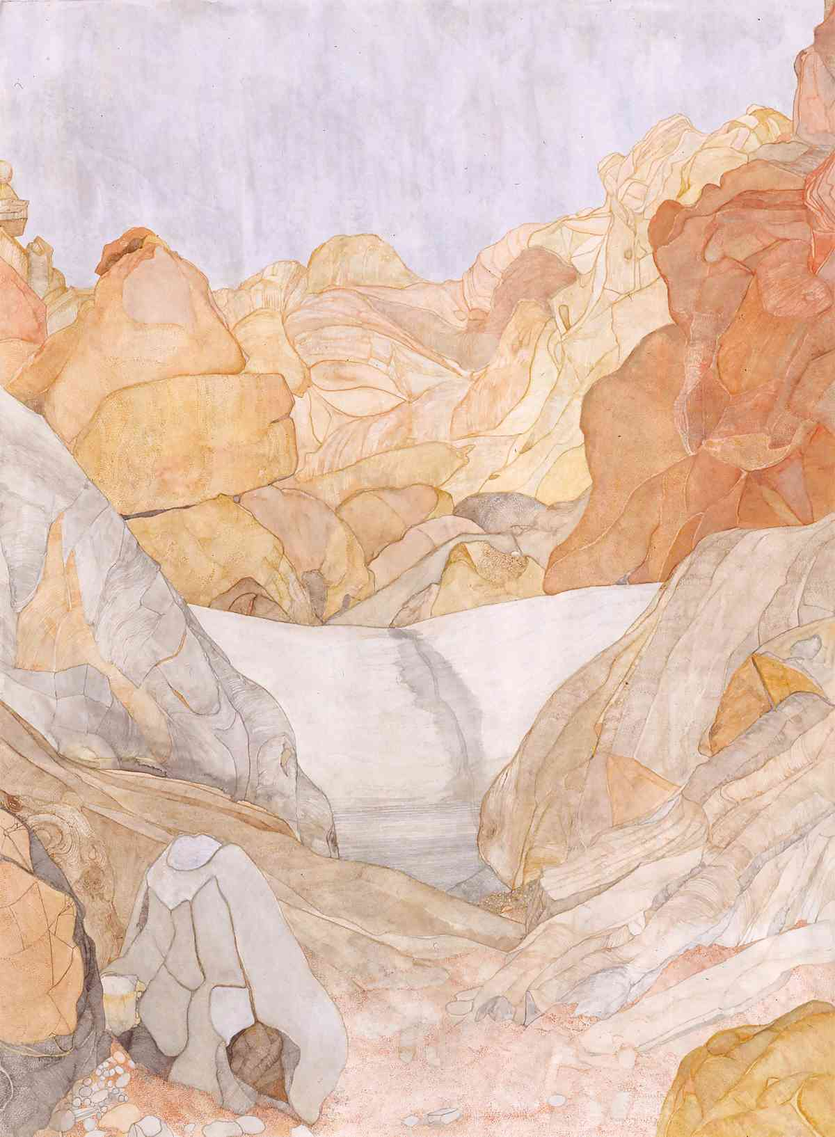 Roma Gorge, large white rock blocking river bed, watercolour, 113 X 157cm