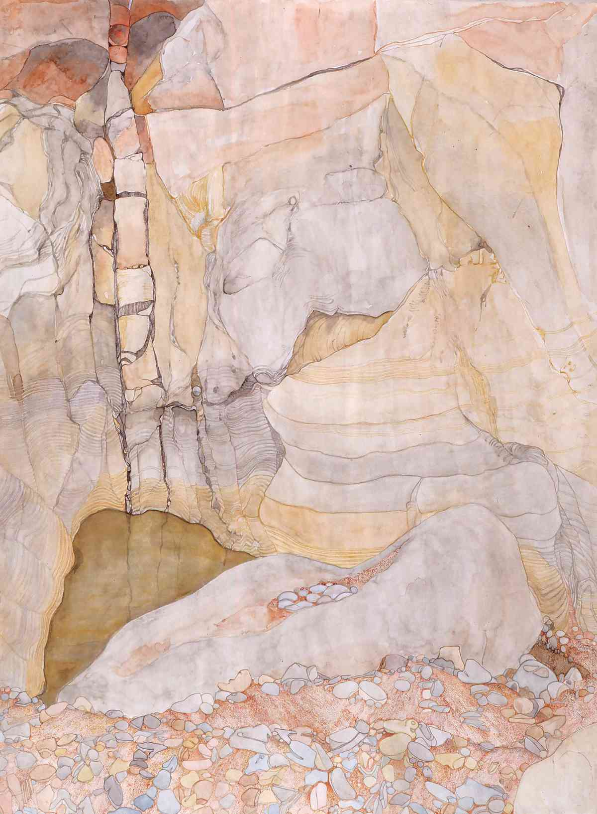 Roma Gorge from above, Spinifex Pigeon Waterhole, watercolour, 113 X 157cm