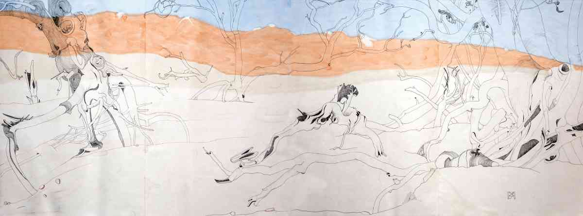 Western Coolibah, watercolour, ink drawing, Concertina Book, 45 X 124cm
