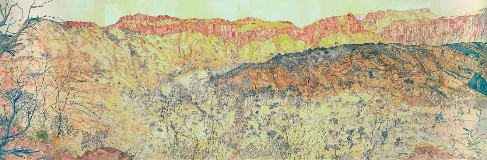 Ruby Gap Landscape (August Expedition), watercolour ink drawing, 95 X 229cm
